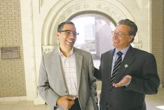 Ab Freig (left) and Howard Morry are part of the Arab-Jewish Dialogue, an initiative dedicated to encouraging good  relations between Canadian Arabs and Jews.