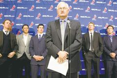 Chris Young / THE CANADIAN PRESS NHLPA boss Donald Fehr (centre) stands with players (from left) Detroit's Daniel Cleary, Edmonton's Shawn Horcoff, Pittsburgh's Sidney Crosby, Carolina's Eric Staal and Phoenix's Shane Doan on Thursday.