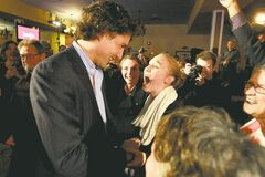 A young enthusiast shows her excitement at meeting Justin Trudeau Saturday evening at the Punjab Banquet Hall in the Maples. Trudeau is running to lead the federal Liberal party.