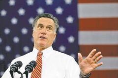 Republican presidential candidate and former Massachusetts Gov. Mitt Romney gestures as he speaks at a campaign stop at Meadow Event Park, in Richmond, Va., Thursday, Nov. 1, 2012. (AP Photo/Charles Dharapak)