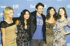This image released by Starpix shows, cast members, from left, Ashley Benson,Vanessa Hudgens, James Franco, Selena Gomez, and Rachel Korine during a press conference for the movie