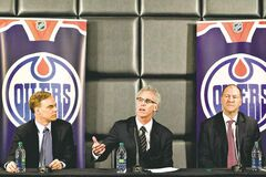 Edmonton Oilers' new senior vice-president Scott Howson (from left), new general manager Craig MacTavish and team president Kevin Lowe said goodbye to Steve Tambellini.