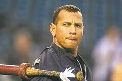 FILE - In this Wednesday, Oct. 17, 2012 file photo, New York Yankees' Alex Rodriguez takes batting practice before Game 4 of the American League championship series against the Detroit Tigers, in Detroit. Major League Baseball says it is