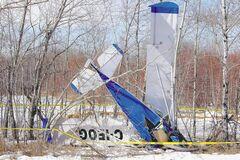 The wrecked ultralight Cessna lies in bush just off Provincial Road 304, a kilometre east of Highway 12, after a nosedive crash early Thursday afternoon.