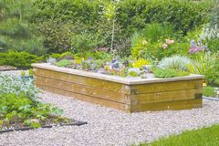 Constructed from cedar, this sturdy raised bed in a St. Vital garden features overlap joints. A mix of alpine plants paired with rocks and a dwarf tree and shrub for vertical interest stands out against a leafy backdrop.