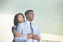 Nicole Beharie as Rachel Robinson and Chadwick Boseman as Jackie Robinson in 42.