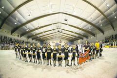 Team Manitoba takes centre stage Friday in Billy Mosienko Arena at the Bantam Box Lacrosse National Championship opening ceremonies.