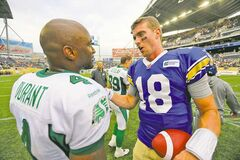 On Sunday, Bombers quarterback Justin Goltz got a rare treat for Bombers' pivots this year, greeting his counterpart -- Darian Durant -- as the winning quarterback.