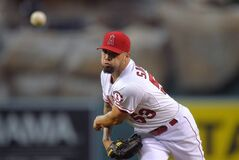 Los Angeles Angels starting pitcher Garrett Richards throws to the plate during the first inning of a baseball game against the Miami Marlins, Wednesday, Aug. 27, 2014, in Anaheim, Calif. (AP Photo/Mark J. Terrill)