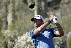 Jason Day, of Australia, watches his tee shot on the 17th hole in his match against Billy Horschel during the second round of the Match Play Championship golf tournament on Thursday, Feb. 20, 2014, in Marana, Ariz. (AP Photo/Ted S. Warren)