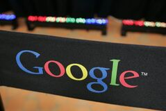 FILE - This Sept. 2, 2008 file photo shows the Google logo on a chair at the company's headquarters in in Mountain View, Calif. Google Inc. on Wednesday, April 17, 2013 is expected to announce it's taking over a troubled municipal fiber-optic system in a high-tech corridor of Utah, making Provo the third Google Fiber city. (AP Photo/Paul Sakuma, File)