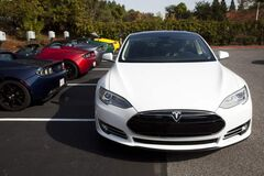 An exterior view of Tesla's Model S beta prototype.