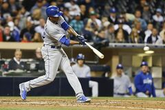 Kansas City Royals starting pitcher Yordano Ventura slams the first major league hit of his career while batting against the San Diego Padres in the fifth inning of a baseball game Monday, May 5, 2014, in San Diego. (AP Photo/Lenny Ignelzi)