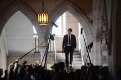 Liberal Leader Justin Trudeau makes his way to Question Period in the House of Commons in Ottawa, Monday.