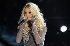 Carrie Underwood performs onstage at the 46th Annual Country Music Awards at the Bridgestone Arena on Thursday, Nov. 1, 2012, in Nashville, Tenn.