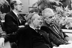 Former Prime Minister John Diefenbaker (right) sits with former Prime Minister Lester Pearson and former Progressive Conservative party leader Robert Stanfield in this 1969 file photo.