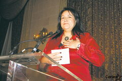 Christine Cyr, pictured here accepting her Future Leaders of Manitoba award last month.