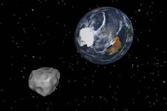 This image provided by NASA/JPL-Caltech shows a simulation of asteroid 2012 DA14. The 150-foot object passed within 17,000 miles of the Earth.