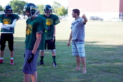 Miles Macdonell Buckeyes head coach Dan Washnuk leads practice at the school on Aug. 28.