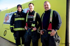 Firefighters Joel Savard, Chad Swayze, and T.J. Belluk camped atop the Winnipeg Fire Paramedic Station No. 4 at 150 Osborne St. for four days last week.