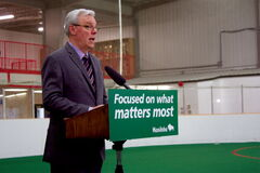 Premier Greg Selinger speaks at a press conference announcing $7.5 million in provincial funding for community centre and non-profit recreation group on May 14.