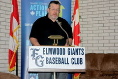 Elmwood Giants past-president and treasurer Al Kinley speaks at a press conference announcing an influx of funding to a $285,000 renovation to Giants Field.