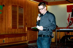 Brandon Logan reads from his book I've SeenThe Elephant during its launch at the Royal Canadian Legion Prince Edward Legion Branch No. 81 on March 9.
