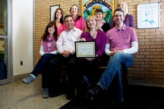 The Springfield Heights School resource/admin team was recently honoured for its work with students with a Yes I Can! Awards certificate of recognition. Back row, left to right: Heather Gebhardt, Nellie Pauls, Karen Boily, Alison Kuran. Front row, left to right: Kristy Peterson, Mario Beauchamp, Kelly McLellan-Page, Scott Lysack. Missing: Jenni Foubister, Kelsey Shalay.