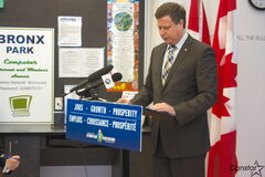Elmwood-Transcona MP Lawrence Toet speaks at a press conference announcing a $58,500 grant to the Clara Hughes Recreation Centre at Bronx Park Community Centre on Jan. 8.