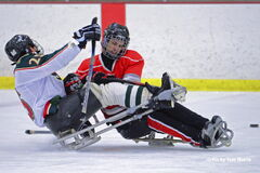 Manitoba Falcons' Sean Gilmour, right, battles Minnesota Wild's Luke Schmitz in a sledgehockey tournament at Schwan Super Rink in Blaine, MN on March 15, 2014.
