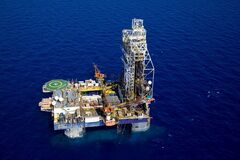 FILE - In this undated file photo made available by Albatross Aerial Perspective shows an aerial the Tamar Lease natural gas rig, located 90 kilometers west of the city of Haifa, northern Israel. Recent discoveries of massive offshore natural gas deposits, set to begin flowing in the coming days, are turning into a mixed blessing for Israel. The deposits are expected to provide Israel enough natural gas for decades and transform the country, famously empty of natural resources, into an energy exporter. Yet selling this gas overseas will require Israel to navigate a geo-political quagmire that risks angering allies and enemies alike.(AP Photo/Albatross Aerial Perspective, File)
