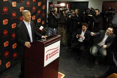 Former Calgary Flames' captain Jarome Iginla speaks to the media following the team's announcement of trading him to the Pittsburgh Penguins, in Calgary on Thursday.