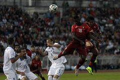 Portugal's Varela, top second right, heads the ball during a friendly soccer match between Portugal and Greece at the National stadium, in Oeiras, near Lisbon, Saturday, May 31, 2014. The game is a warm-up match for both teams ahead the World Cup in Brazil. (AP Photo/Francisco Seco)