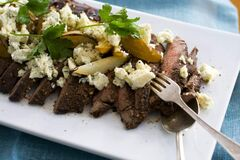 Balsamic-Pepper Flank Steak with Grilled Pear and Blue Cheese.