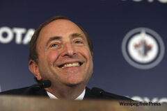 NHL Commissioner Gary Bettman addresses the media before the regular season home opener for the Winnipeg Jets versus Montreal Canadiens game Sunday, October 9.