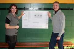 Valley Garden Community Centre publicity director Wayne Elliott and basketball convenor Carol Herrera are shown at the club, which is planning to begin construction on a $150,000 court in the spring.
