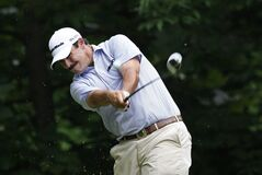 Johnson Wagner hits his drive off the sixth tee during the second round of the 2014 John Deere Classic golf tournament at TPC Deere Run in Silvis, Ill., Friday, July 11, 2014. (AP Photo/Charles Rex Arbogast)