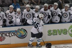 Winnipeg Jets Mark Scheifele (45) scores a shorthanded goal during the first period in rookie action against the San Jose Sharks rookies in Penticton, B.C.