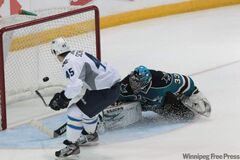 Winnipeg Jets Mark Scheifele (45) scores a shorthanded goal. The rookies for the Winnipeg Jets and the San Jose Sharks took to the ice at South Okanagan Events Centre arena in the Young Stars tournament in Penticton, B.C., Monday evening.