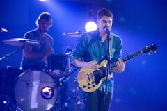 Singer Tim Baker and drummer Phil Maloney of Hey Rosetta! perform at the 2012 Juno Awards. The awards ceremony and show will be held in Winnipeg in 2014.