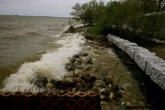 Twin Lake's Beach, St. Laurent, Man. showing high levels in Lake Manitoba, in late May.