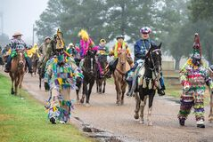 This February 2013 image provided by St. Landry Parish Tourist Commission shows participants in the Courir de Mardi Gras in Eunice, La., a Mardi Gras season tradition in Louisiana's Cajun country. The courir is a procession on foot, horseback and by trailer, rooted in a rural custom of gathering ingredients for a communal meal from area farms. (AP Photo/St. Landry Parish Tourist Commission, David Simpson)