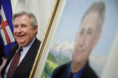 Former Alberta premier, the late Ralph Klein attends the unveiling of his official portrait at the Alberta Legislature Rotunda in Edmonton in 2007.