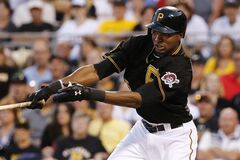 Pittsburgh Pirates' Gregory Polanco drives in two runs with a single off Miami Marlins starting pitcher Brian Flynn during the fourth inning of a baseball game in Pittsburgh Thursday, Aug. 7, 2014. (AP Photo/Gene J. Puskar)