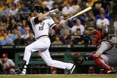 Pittsburgh Pirates' Jordy Mercer (10) hits a two-run home run off St. Louis Cardinals starting pitcher Shelby Miller during the fourth inning of a baseball game in Pittsburgh Sunday, May 11, 2014. (AP Photo/Gene Puskar)