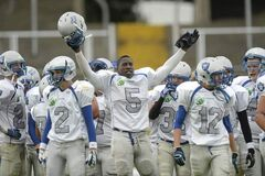 T.J. Wright of the Oak Park Raiders celebrates victory over the Villanova College Knights of King City, Ontario, Friday. The game was part of the Global Ireland Football tournament in Ireland. Oak Park and Villanova College were the two Canadian team who joined 10 other U.S. high schools to promote football overseas.