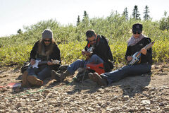 From left, Matt Mays, Sam Roberts and Kathleen Edwards in Wapusk National Park.