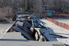 The boardwalk at Grand Beach was mostly destroyed during last week's windstorm.