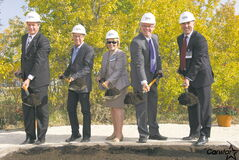 (From left): Elmwood-Transcona MP Lawrence Toet, Mayor Sam Katz, CN's Human Resources Vice-President Kim Madigan, Manitoba Premier Greg Selinger, and CN's Safety and Sustainability Vice-President John Orr, at the groundbreaking ceremony of the new CN training facility in Transcona.
