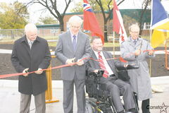 Local dignitaries cut the ribbon to officially open the new Disraeli Bridge last week.